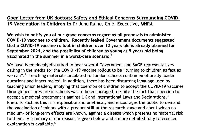 מכתב מהרופאים הבריטים לגבי בטיחות חיסוני הקורונה